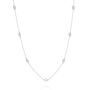NK-81/S - Long Chain Necklace with Cubic Zirconia