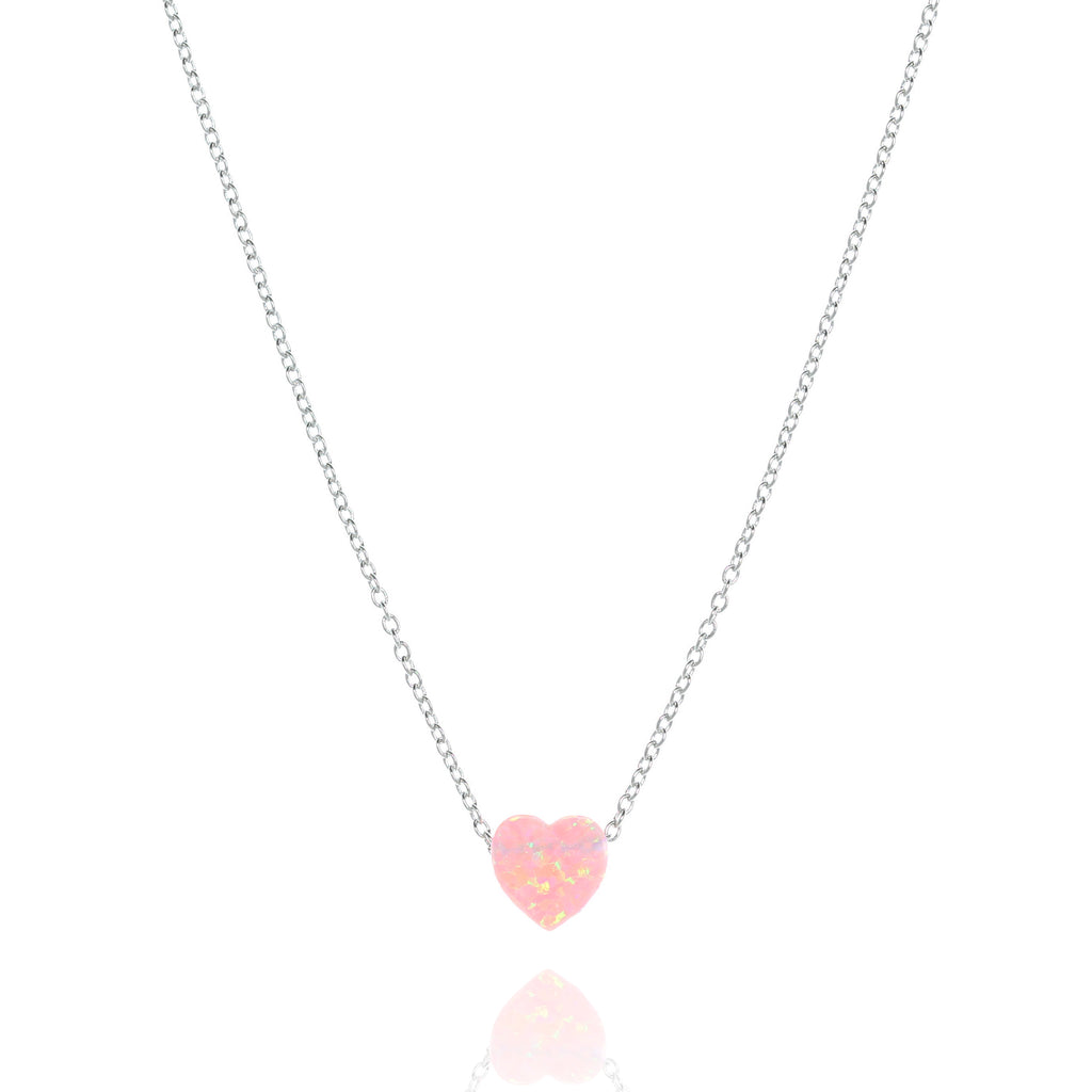 NN-511/SP - Heart Shaped Pink Opal Pendant
