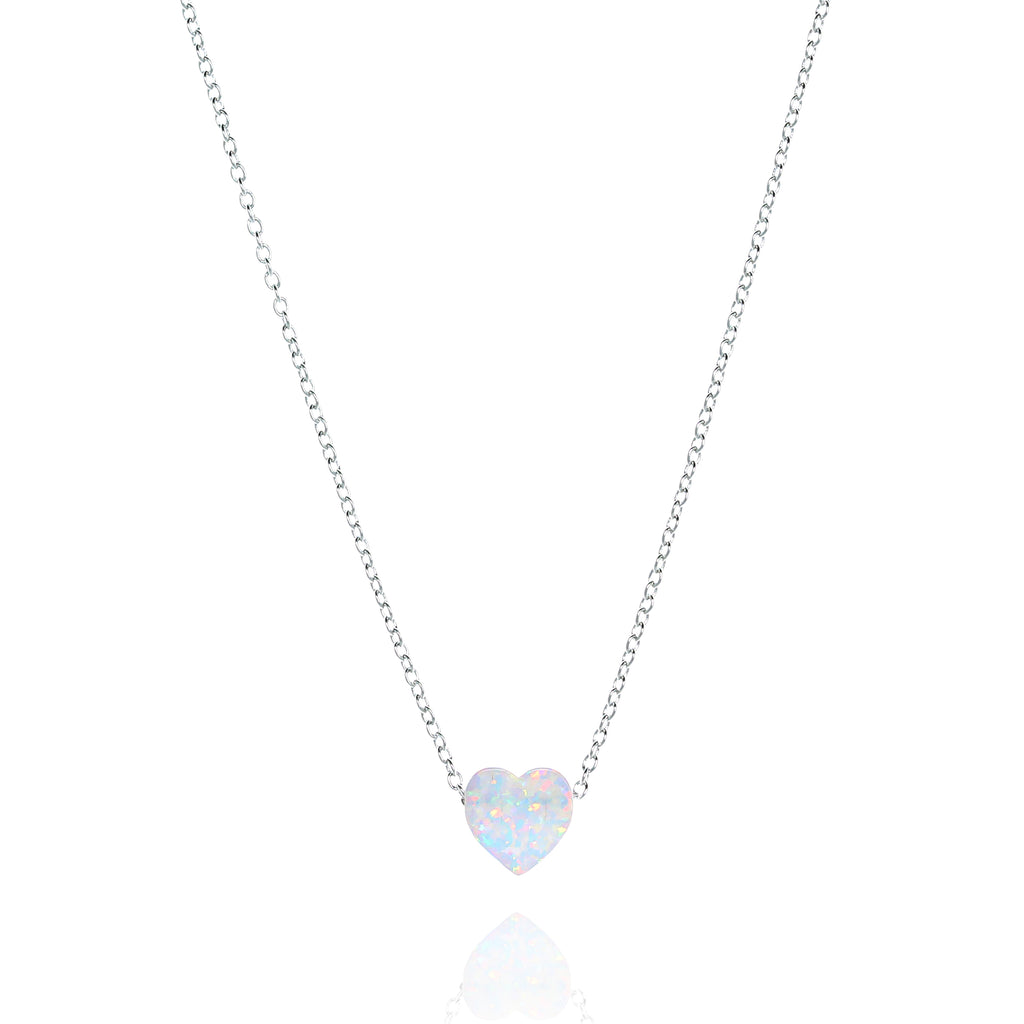 NN-511/SW - Heart Shaped White Opal Pendant