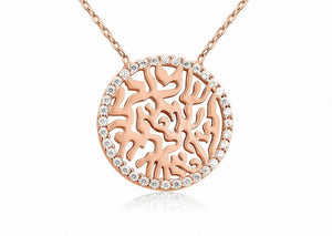 NT-100/R - Rose Gold Circle of Life Pendant adjustable length rimmed with Cubic Zirconia