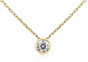 NK-66/G - Gold Chain and Cubic Zirconia Pendant Necklace.