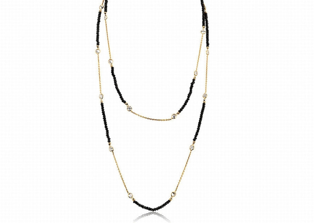 NS-4003/G - Black onyx and gold necklace.