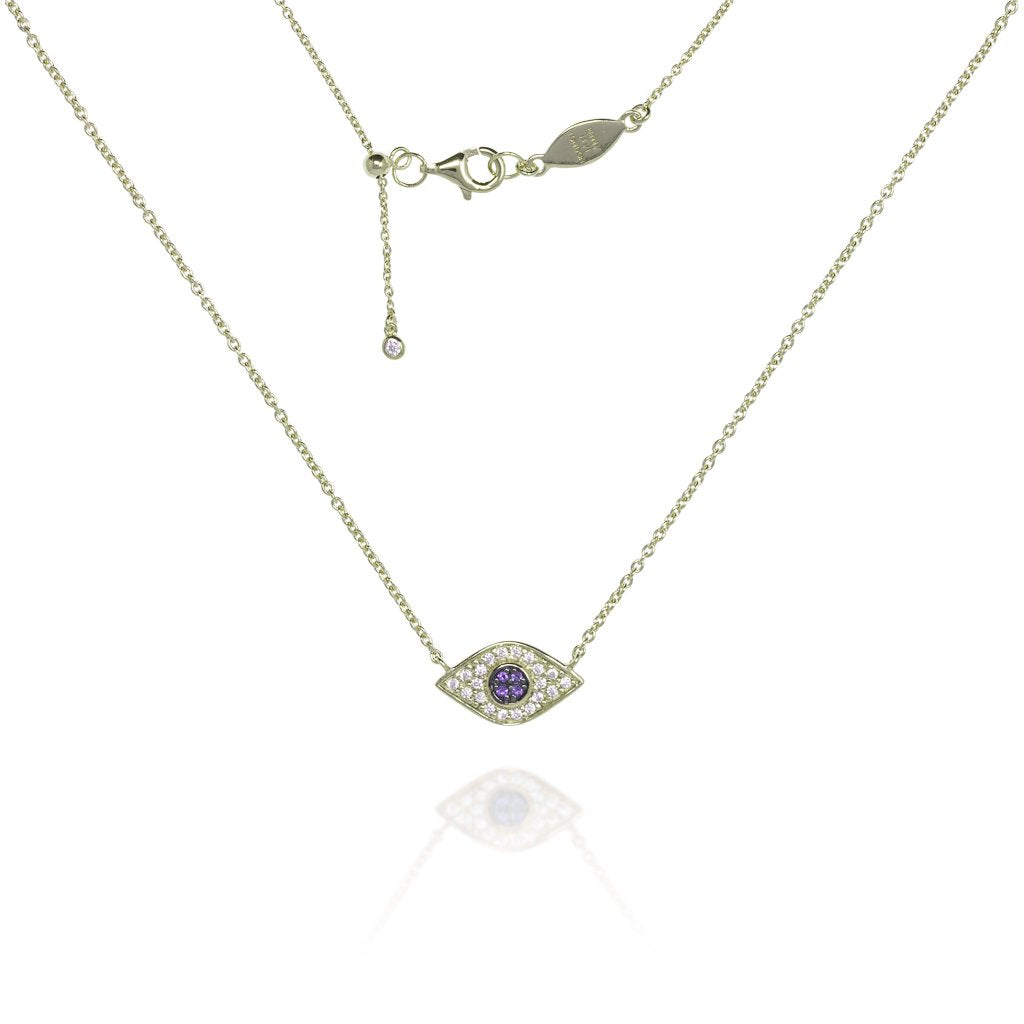 NT-202/G - Evil Eye Chain Necklace Set in CZ with Blue Center Stones