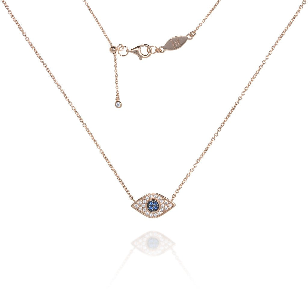 NT-202/R - Evil Eye Chain Necklace Set in CZ with Blue Center Stones