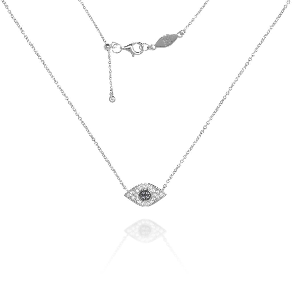 NT-202/S - Evil Eye Chain Necklace Set in CZ with Blue Center Stones