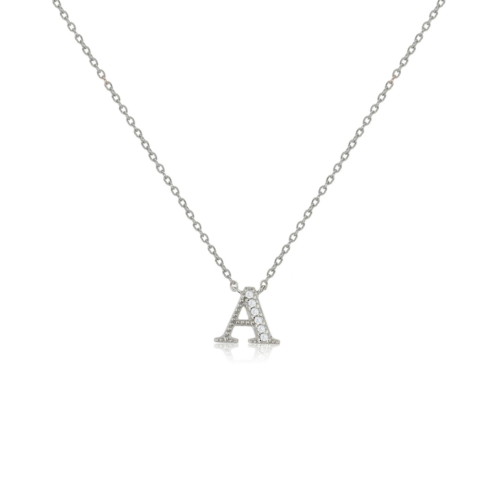 "NT-26/S/A - Initial ""A"" Necklace with Sliding Length Adjuster"