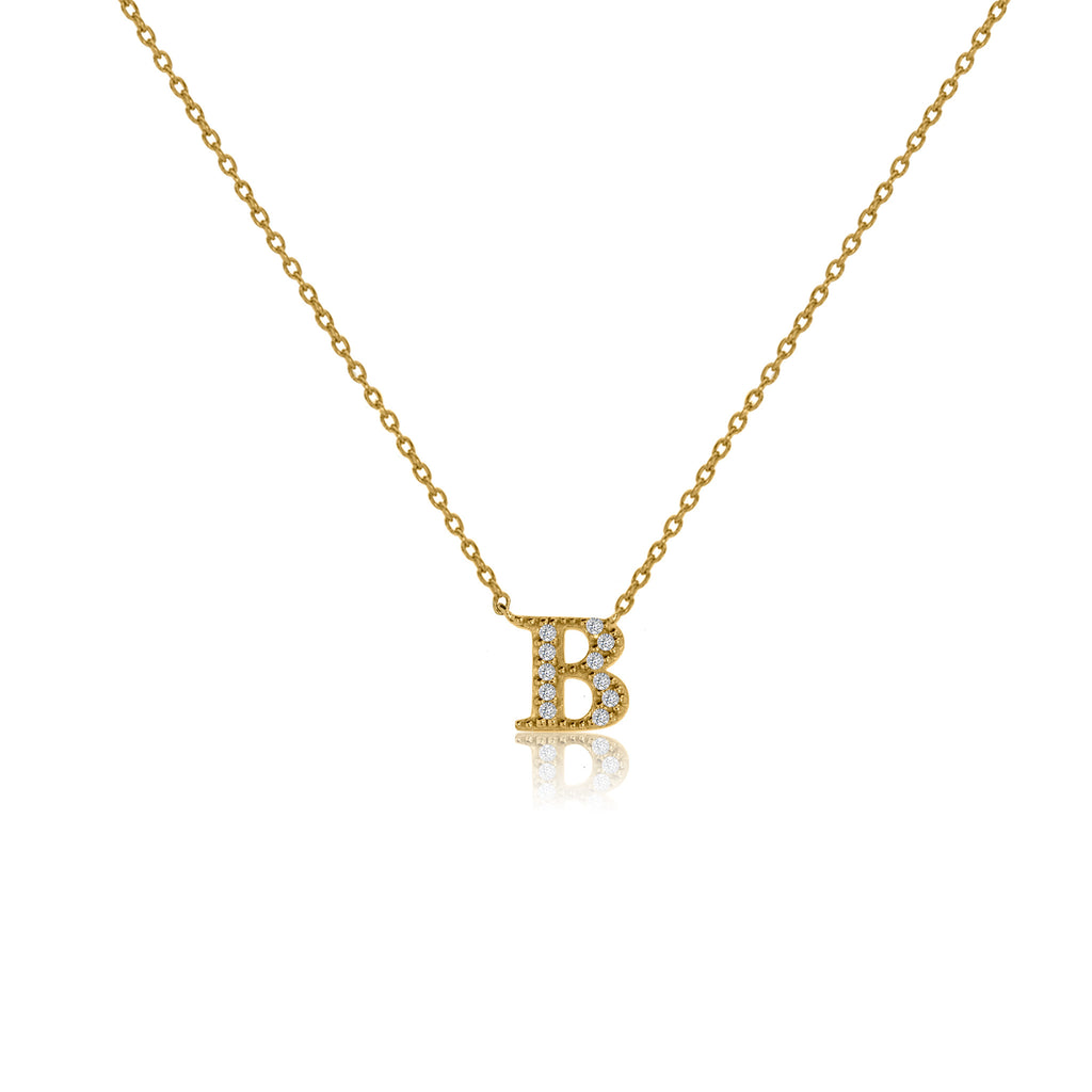 "NT-26/G/B - Initial ""B"" Necklace with Sliding Length Adjuster"