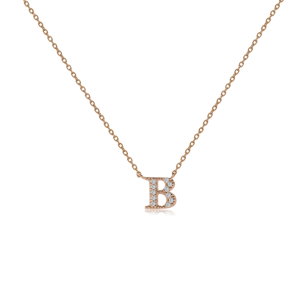 "NT-26/R/B - Initial ""B"" Necklace with Sliding Length Adjuster"