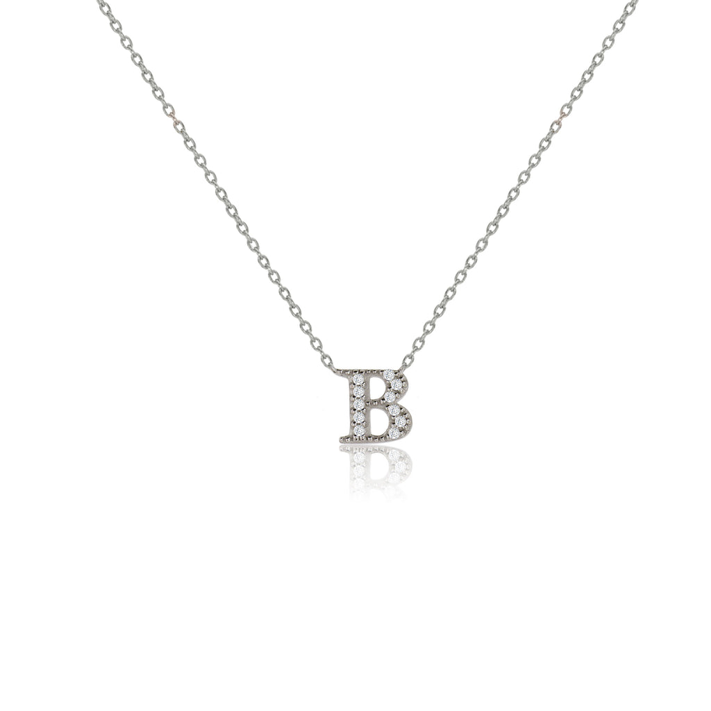 "NT-26/S/B - Initial ""B"" Necklace with Sliding Length Adjuster"
