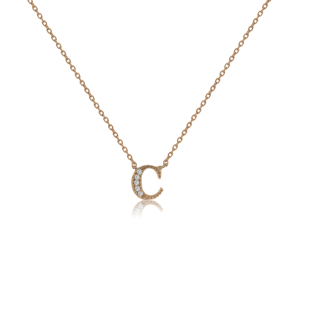 "NT-26/C/R - Initial ""C"" Necklace with sliding size adjuster (NEW)"