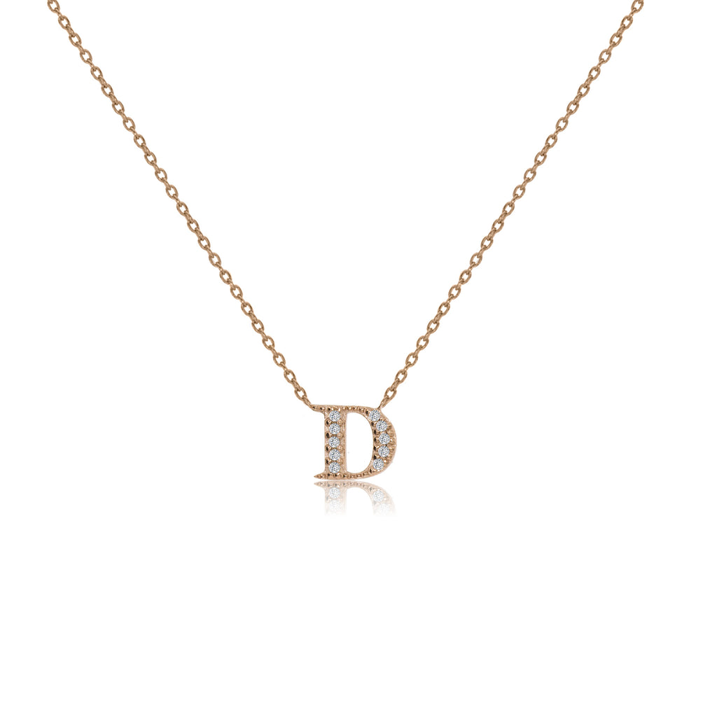 "NT-26/R/D - Initial ""D"" Necklace with Sliding Length Adjuster"