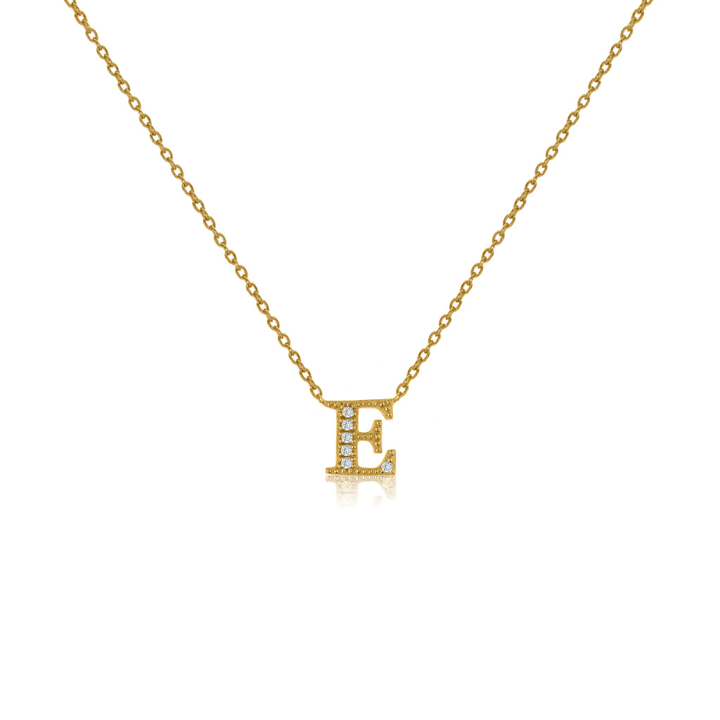"NT-26/E/G - Initial ""E"" Necklace with sliding size adjuster (NEW)"