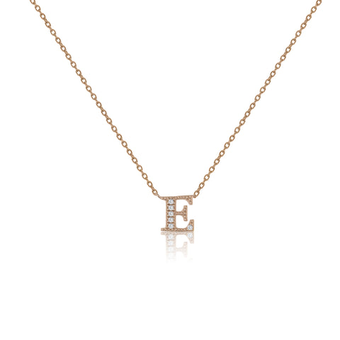 "NT-26/E/R - Initial ""E"" Necklace with sliding size adjuster (NEW)"