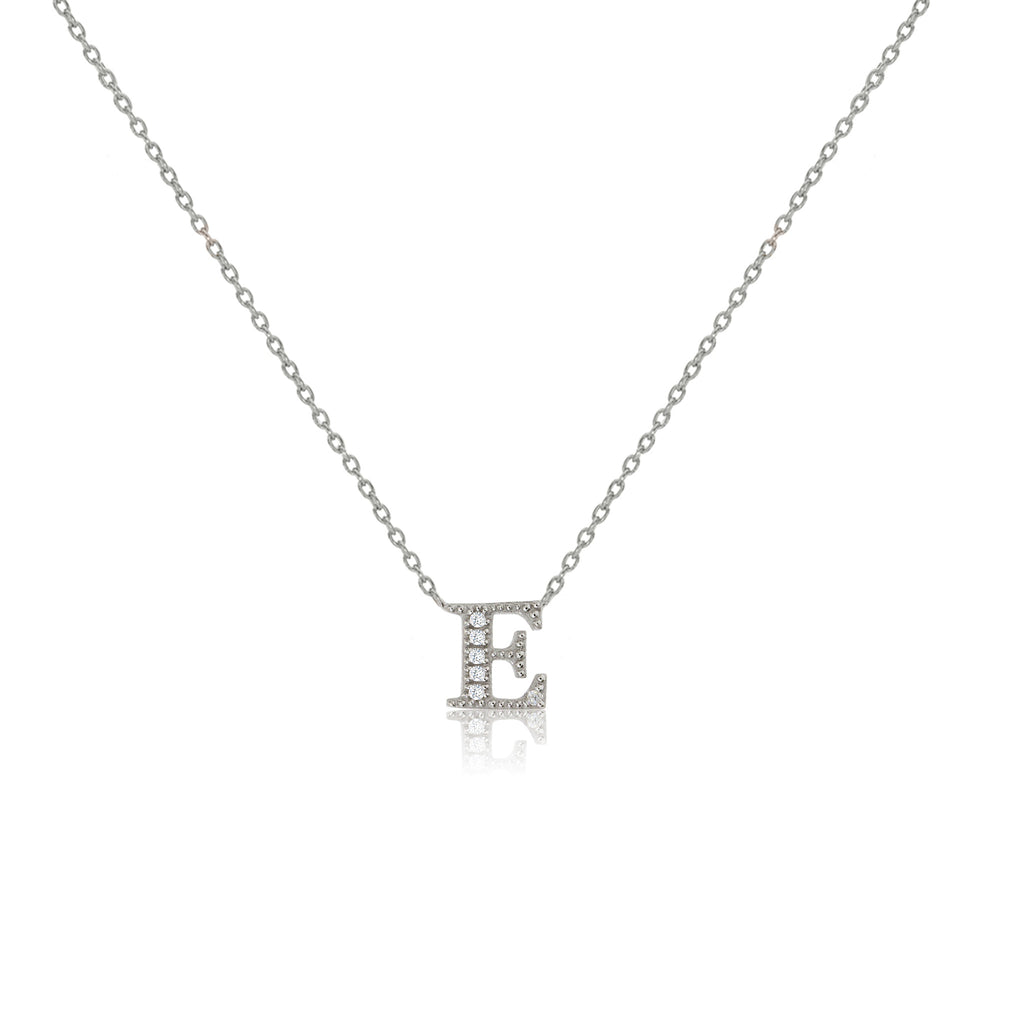 "NT-26/E/S -  Initial ""E"" Necklace with sliding size adjuster (NEW)"