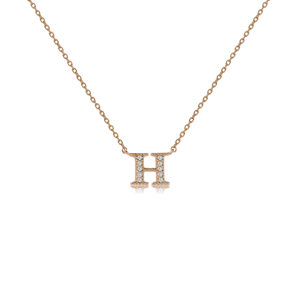 "NT-26/R/H - Initial ""H"" Necklace with Sliding Length Adjuster"