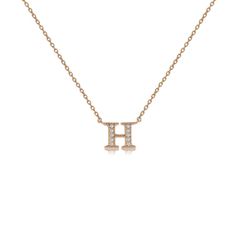 "NT-26/H/R - Initial ""H"" Necklace with sliding size adjuster (NEW)"