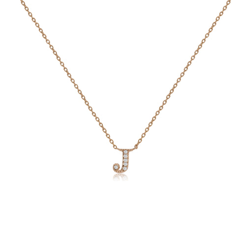"NT-26/J/R - Initial ""J"" Necklace with sliding size adjuster (NEW)"