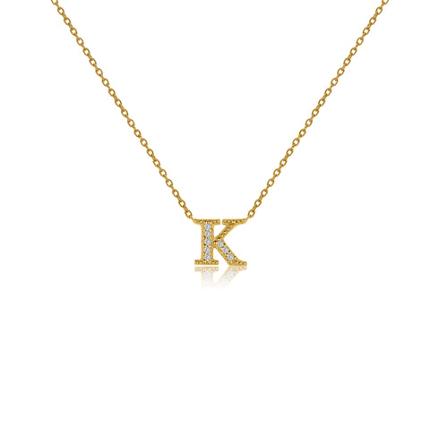 "NT-26/K/G - Initial ""K"" Necklace with sliding size adjuster (NEW)"
