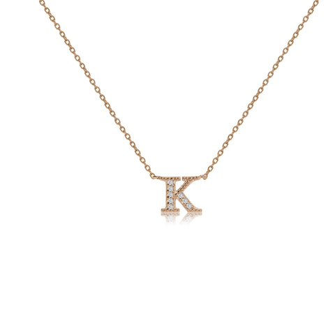 "NT-26/K/R - Initial ""K"" Necklace with sliding size adjuster (NEW)"