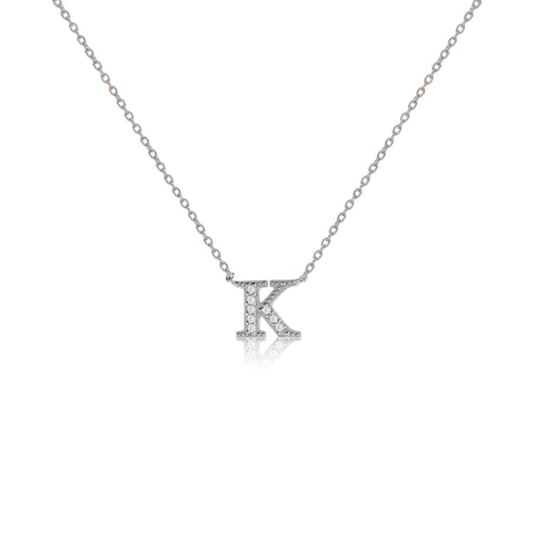 "NT-26/K/S - Initial ""K"" Necklace with sliding size adjuster (NEW"