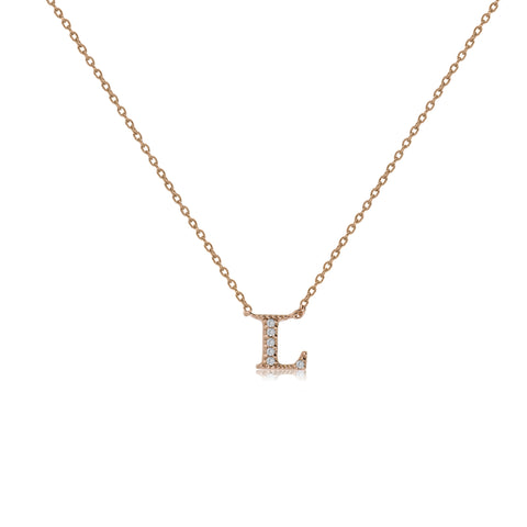 "NT-26/L/R - Initial ""L"" Necklace with sliding size adjuster (NEW)"