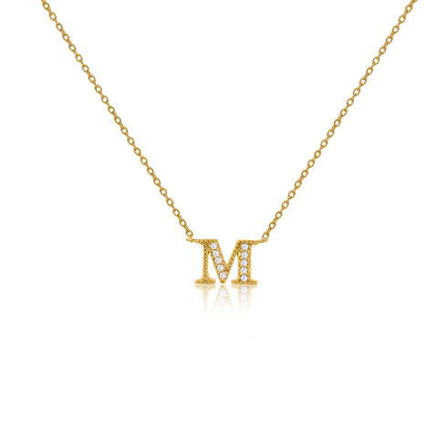 "NT-26/M/G - Initial ""M"" Necklace with sliding size adjuster (NEW)"