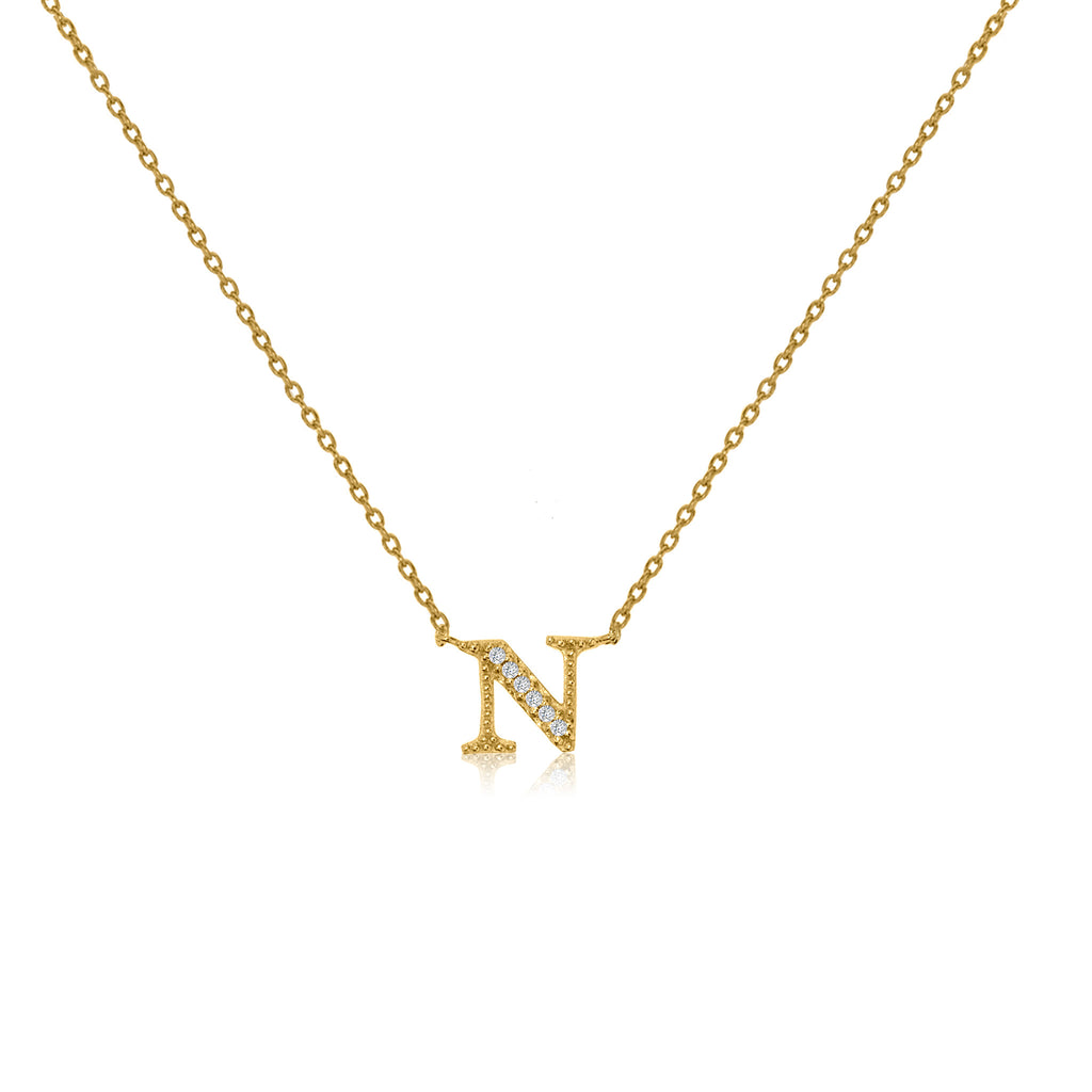 "NT-26/N/G -  Initial ""N"" Necklace with sliding size adjuster (NEW)"