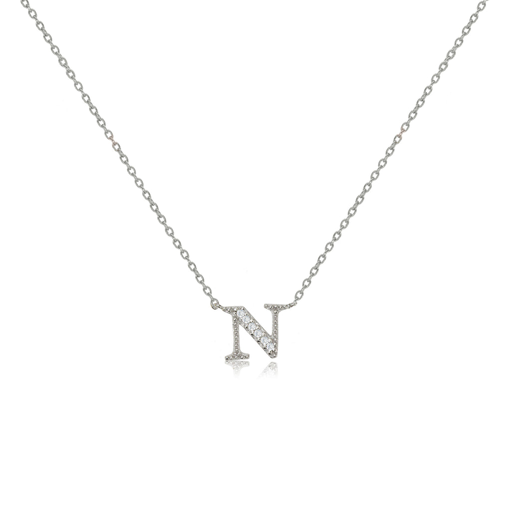 "NT-26/N/S - Initial ""N"" Necklace with sliding size adjuster (NEW)"