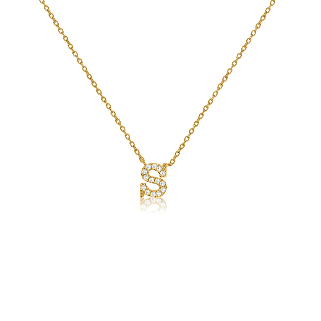"NT-26/S/G - Initial ""S"" Necklace with sliding size adjuster (NEW)"