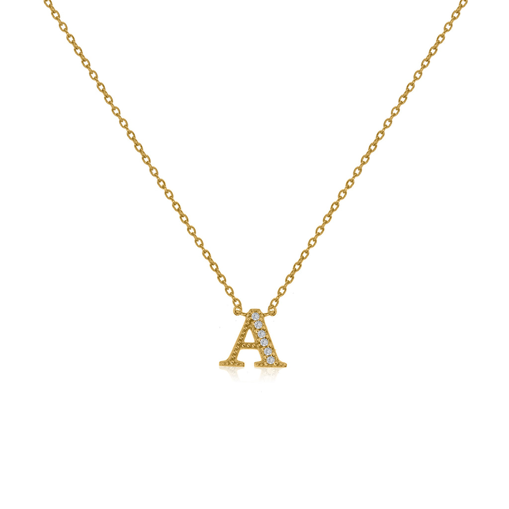 "NT-26/G/A - Initial ""A"" Necklace with Sliding Length Adjuster"