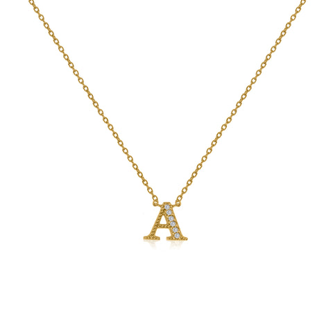"NT-26/A/G - Initial ""A"" Necklace with sliding size adjuster (NEW)"