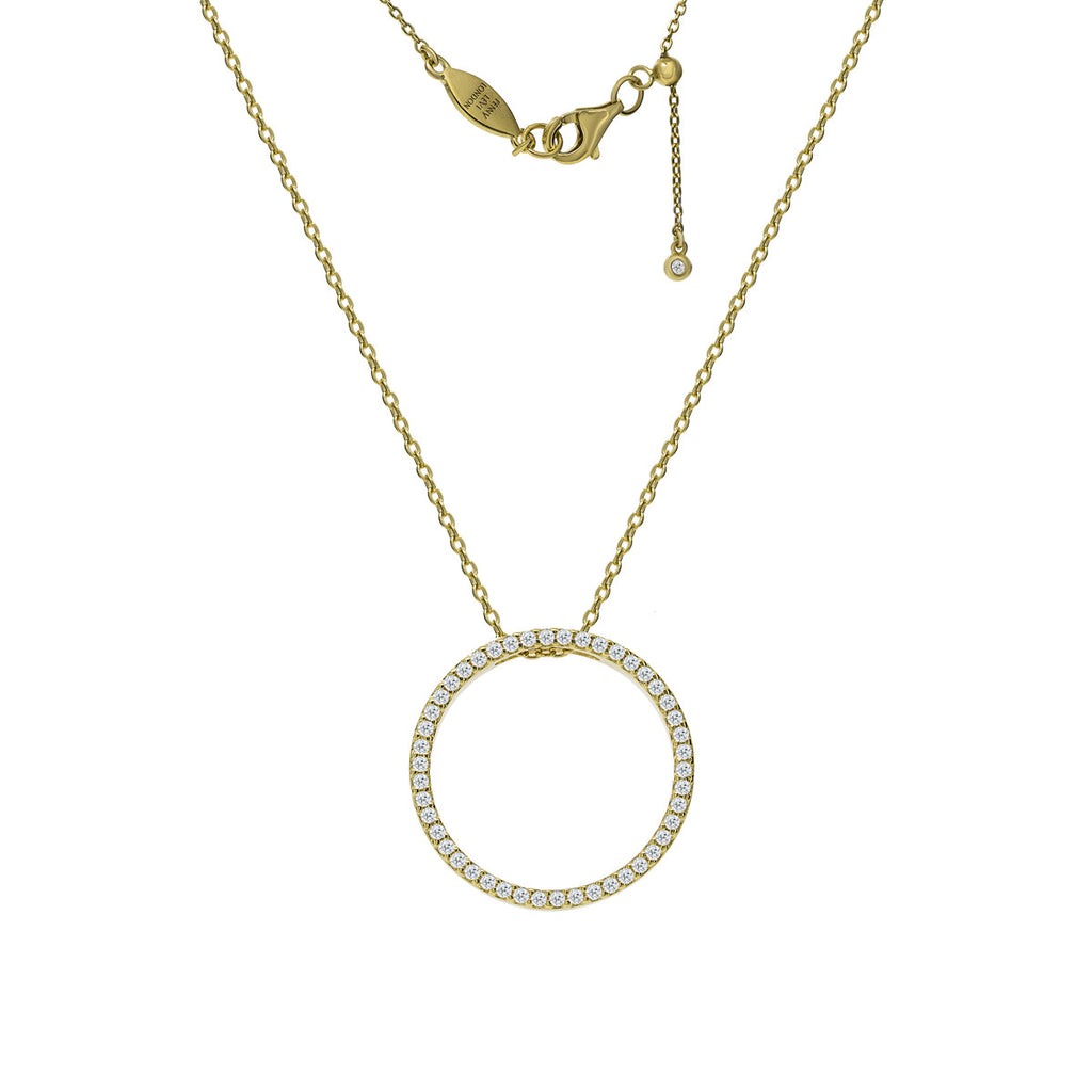 NT-30/G - cz pave circle pendant necklace with adjustable slide length
