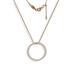 NT-30/R - CZ Pave Circular Pendant with Adjustable Length Slider