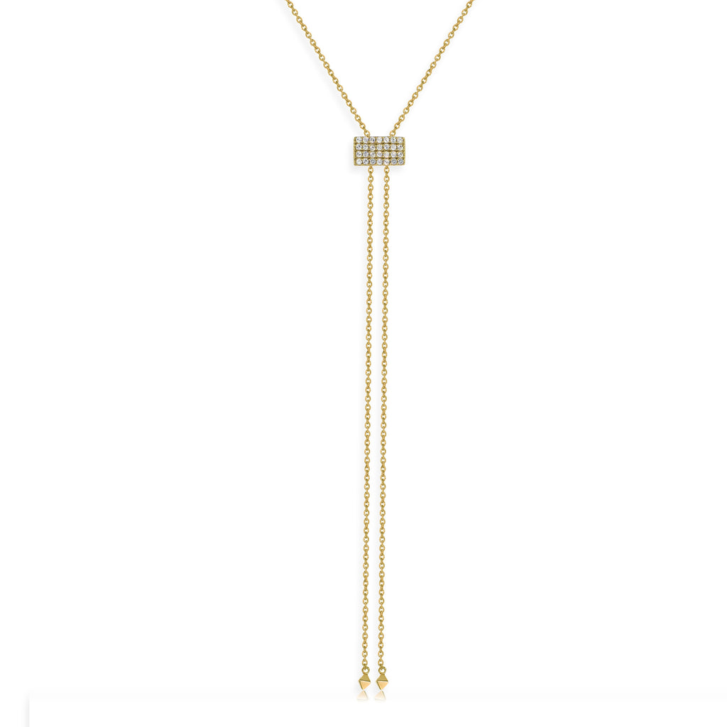 NT-33/G - Lariat Necklace with Square Pave Slider