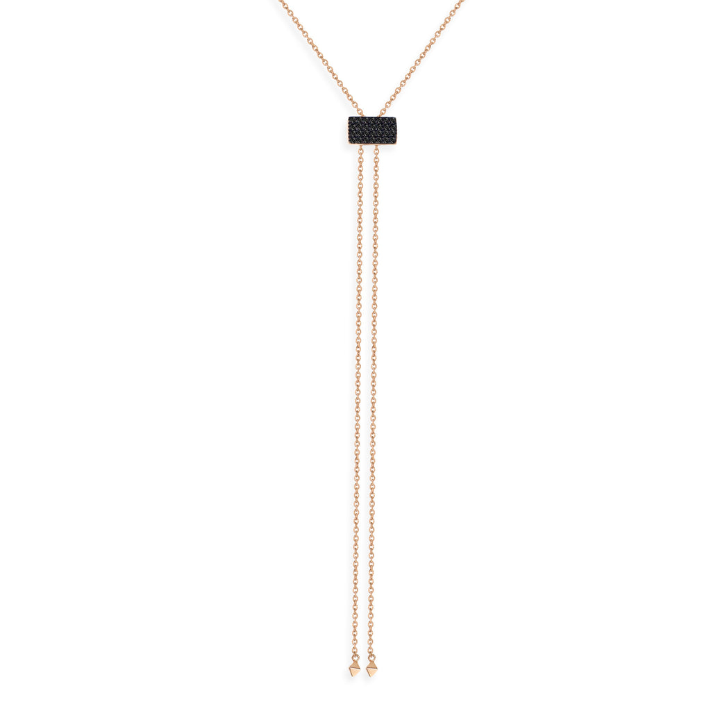 NT-33/RB -  Lariat Necklace with Square Pave Slider