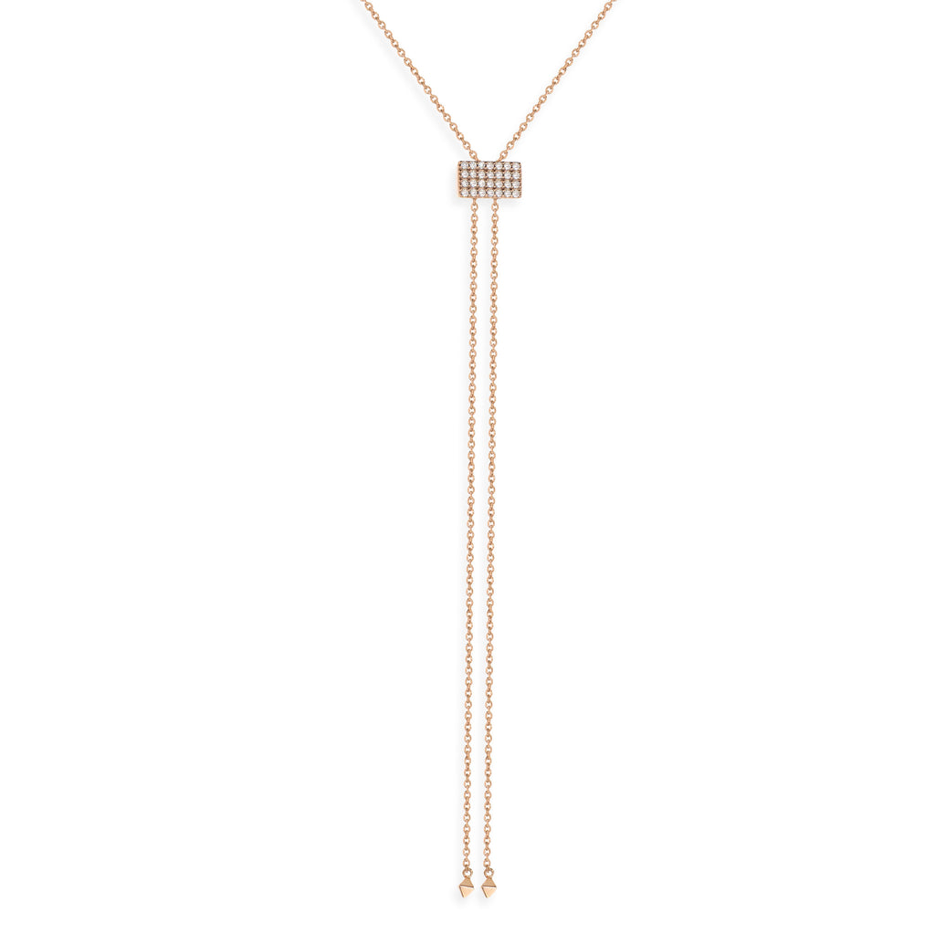 NT-33/R - Lariat Necklace with Square Pave Slider
