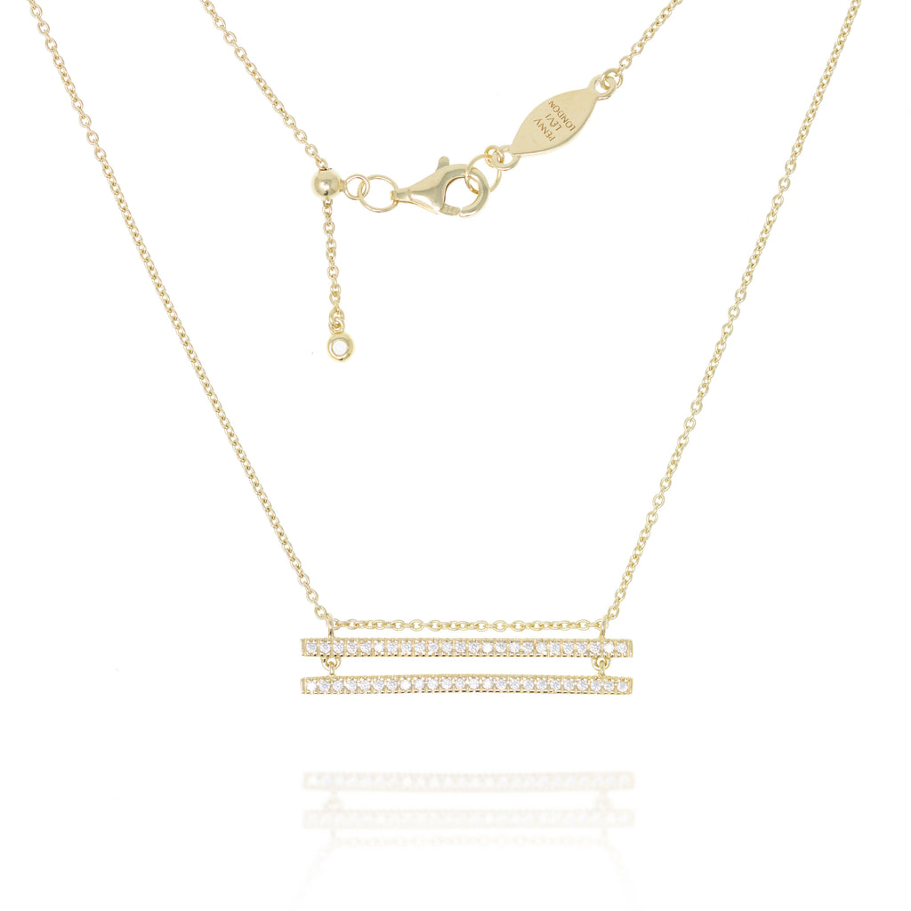 NT-38/G - Chain Necklace with double paved bars