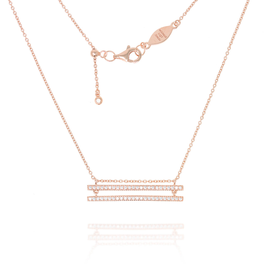 NT-38/R - Chain Necklace with double paved bars