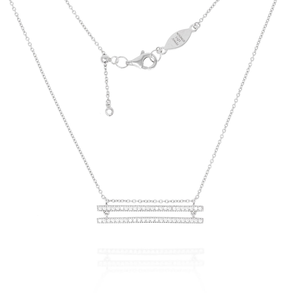 NT-38/S - Chain Necklace with double paved bars
