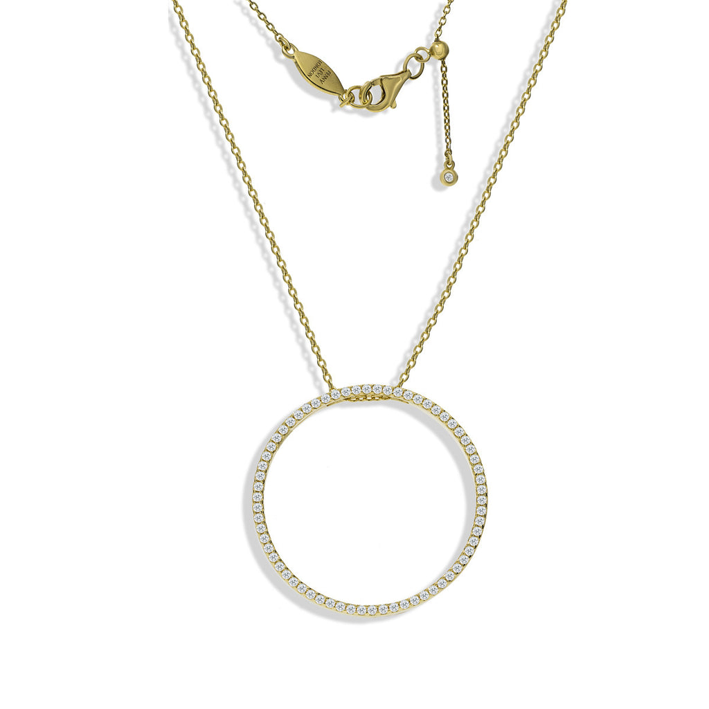 NT-39/G - Pave circle necklace, with adjustable slide to choose your own length.