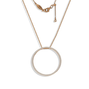 NT-39/R - Pave Circle Necklace with Adjustable Length