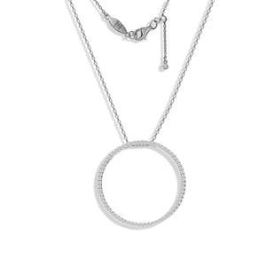 NT-39/S - Pave Circle Necklace with Adjustable Length