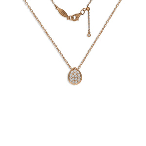 NT-51/R - Pave Teardrop Pendant Necklace with Sliding Adjustment for Length
