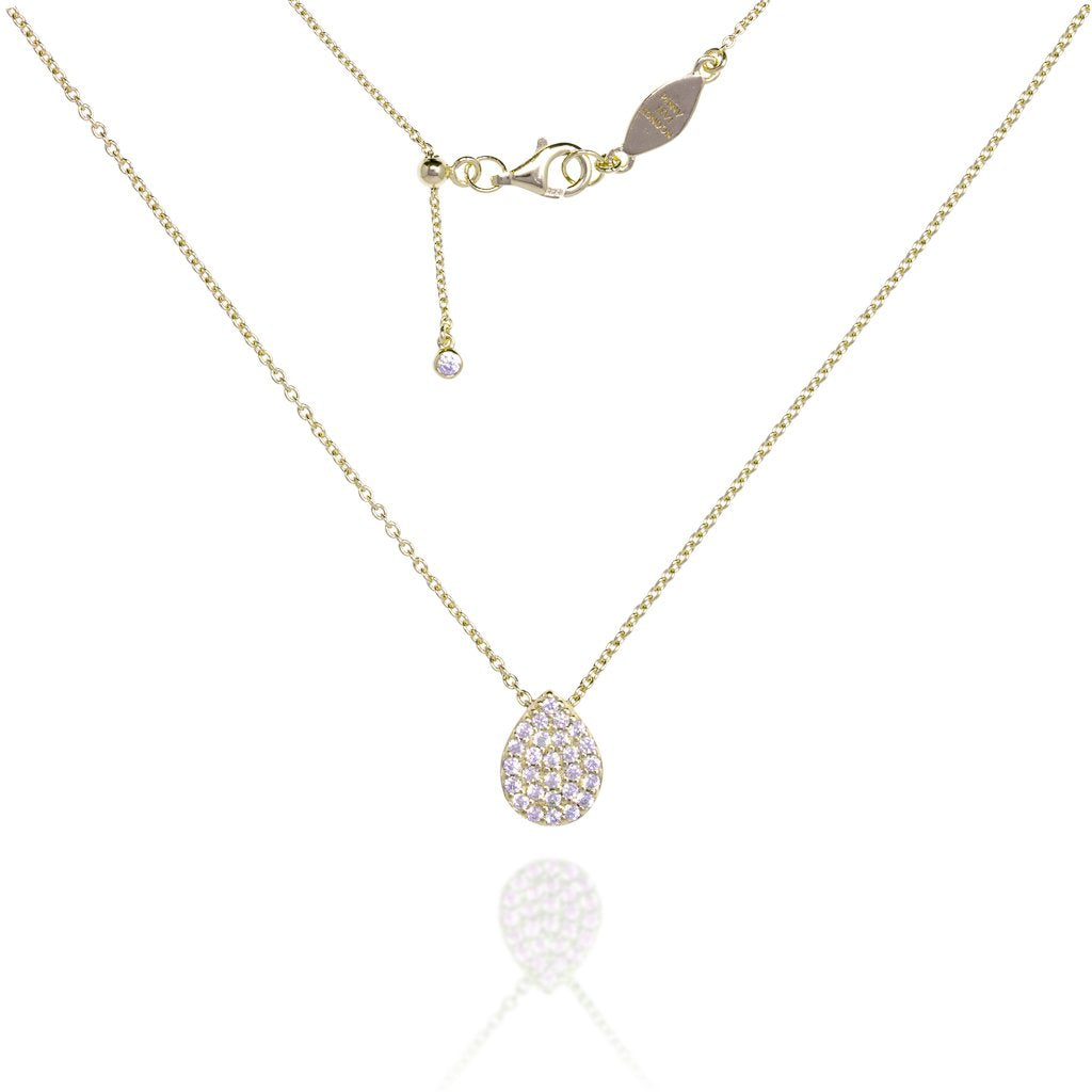 NT-8/G - Chain Necklace with Pave Teardrop