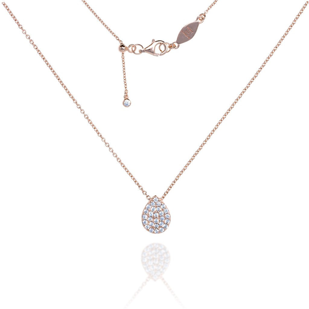 NT-8/R - Chain Necklace with Pave Teardrop