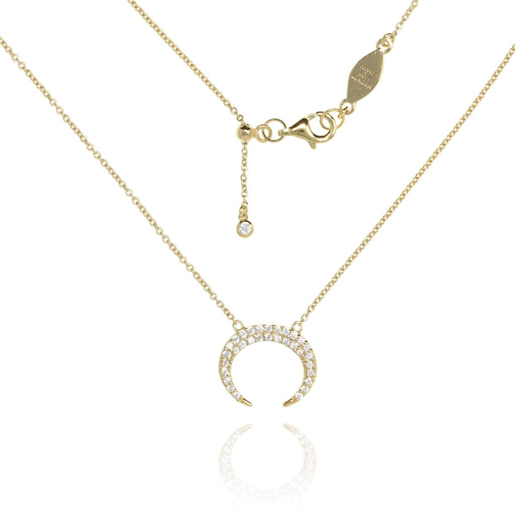 NT-9/G -  Chain Necklace with Pave Crescent