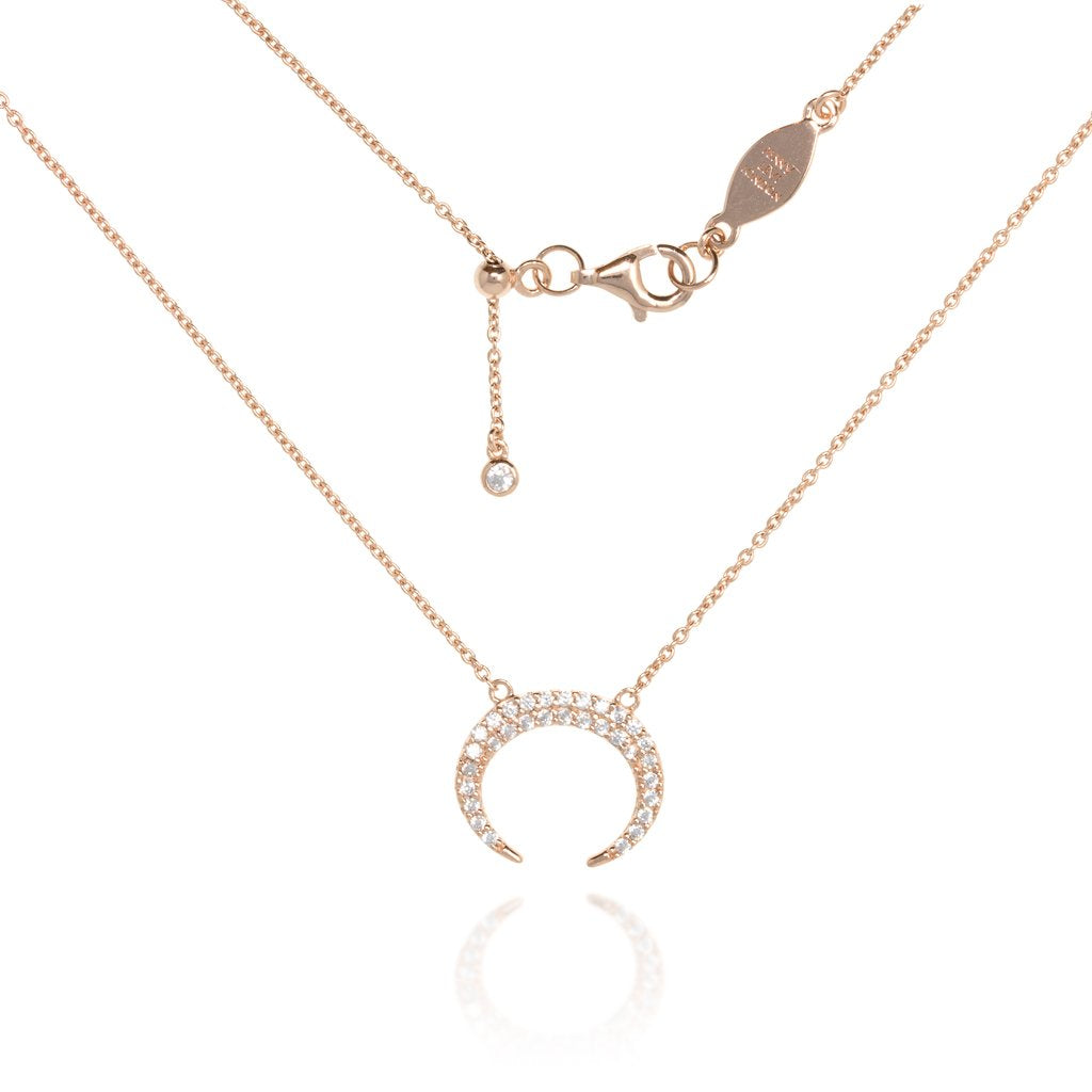 NT-9/R -  Chain Necklace with Pave Crescent