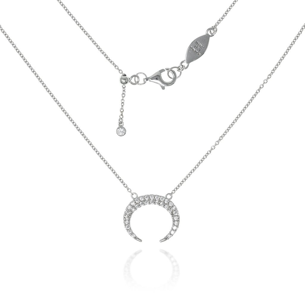 NT-9/S -  Chain Necklace with Pave Crescent
