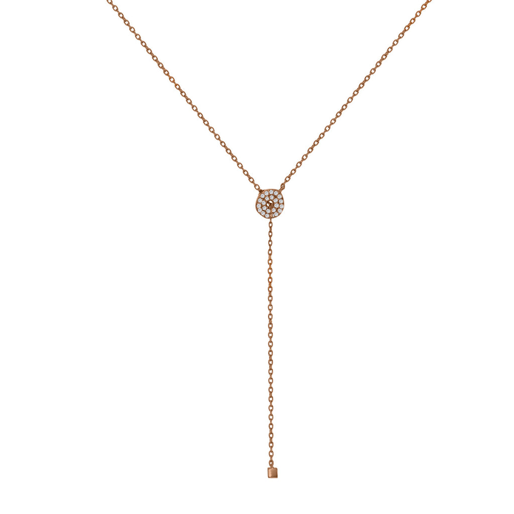 NT-2/R - Lariat Necklace with Cubic Zirconia