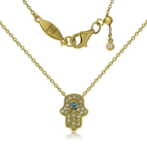 NT-201/G - Hamsa (hand) and Chain Necklace. Adjustable Length
